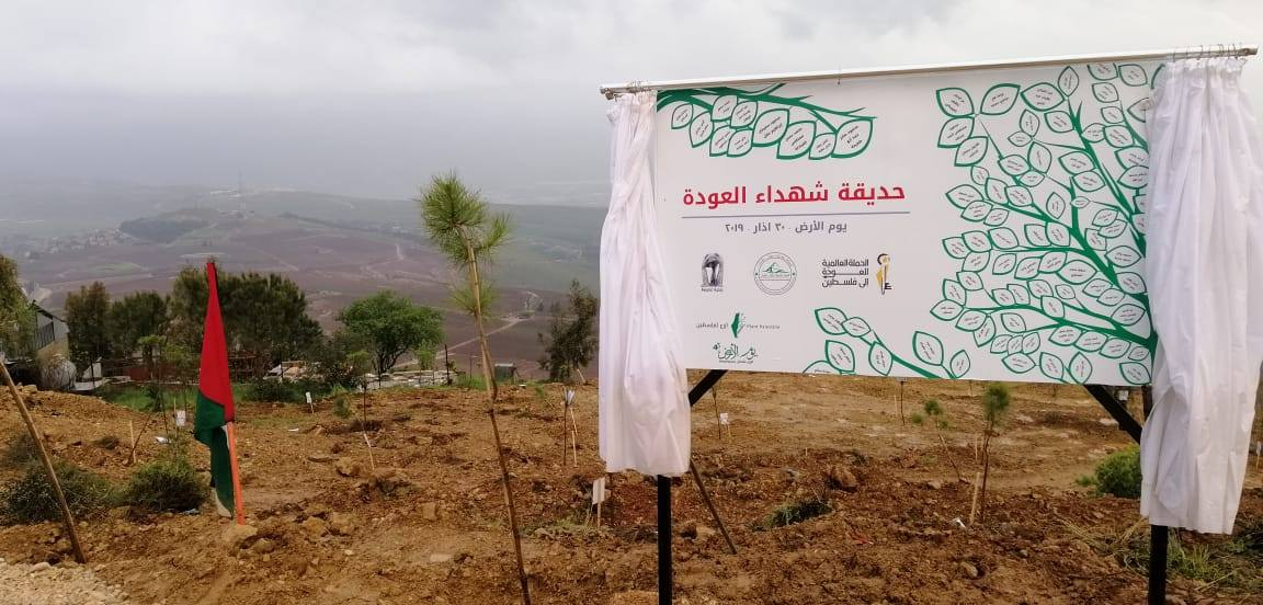 "The grove of trees planted for Palestinian fatalities, Adeisseh, south Lebanon (""Global campaign for the return to Palestine"" Facebook page, March 31, 2019)."