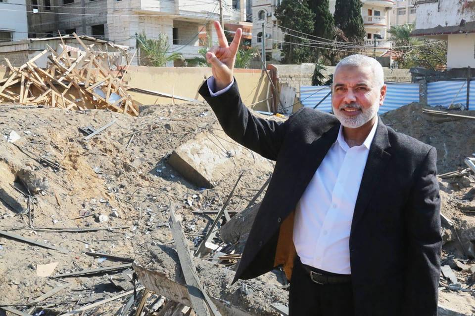 Isma'il Haniyeh visits the ruins of his office in Gaza City after it was attacked during the most recent round of escalation (QudsN Facebook page, March 27, 2019).