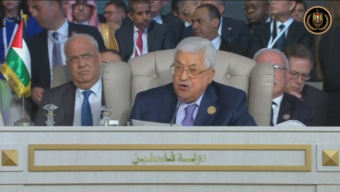 Mahmoud Abbas speaking at the Arab League summit in Tunis (Mahmoud Abbas' Facebook page, March 31, 2019).