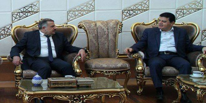 The Syrian minister of electricity (left) in Tehran (SANA, September 28, 2018)