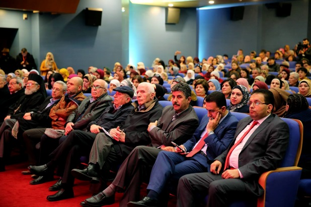 The conference participants, among them Azzam al-Ahmed, member of Fatah's Central Committee; Mustafa Barghouti, a member of the PLO's Executive Committee; and Wasel Abu Yusuf (Wafa Facebook page, March 16, 2019).