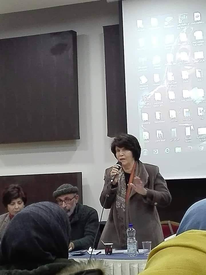 Majda al-Masri speaks at one of the workshops held at the BNC conference (Majda al-Masri's Facebook page, March 17, 2019)