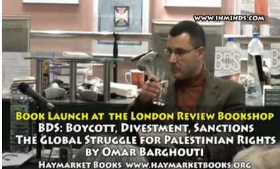 Omar Barghouti at a book signing event in London (inminds.com)