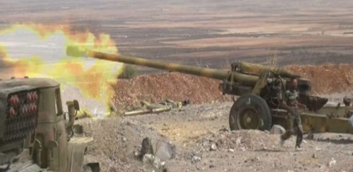 Syrian army artillery fire at targets of the Headquarters for the Liberation of Al-Sham in the rural area south of Idlib (SANA, April 6, 2019)