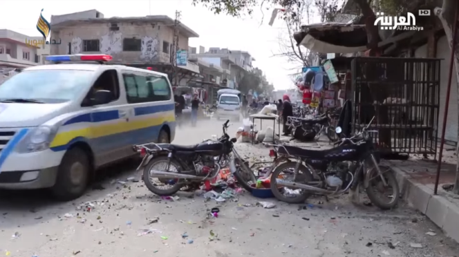 Damage caused by the attack of the militias affiliated with the Syrian army at the village of Kafr Nubl (Al-Arabiya, April 4, 2019).