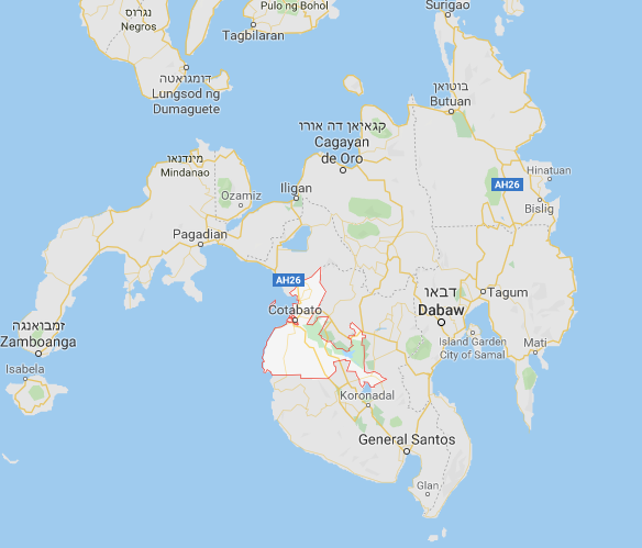 Maguindanao Province on the island of Mindanao in the southern Philippines. Its borders are marked in red (Google Maps).