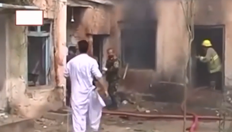 The scene of the attack in Jalalabad (YouTube, April 6, 2019)
