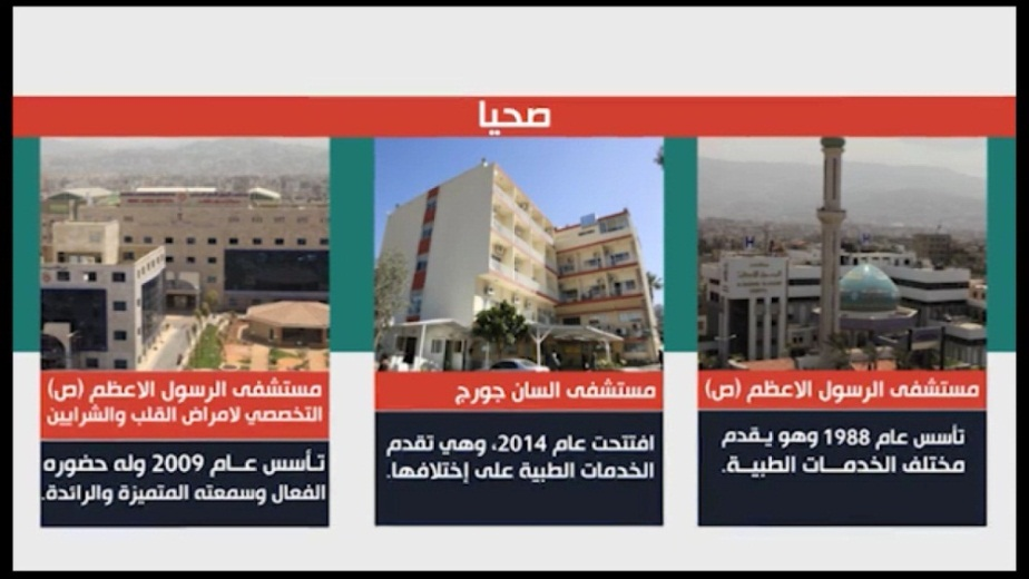 The hospitals of the Martyrs Foundation. From right to left: Al-Rasul Al-A'zam Hospital; St. George's Hospital; Al-Rasul Al-A'zam Hospital (from a video on the website of the Martyrs Foundation)
