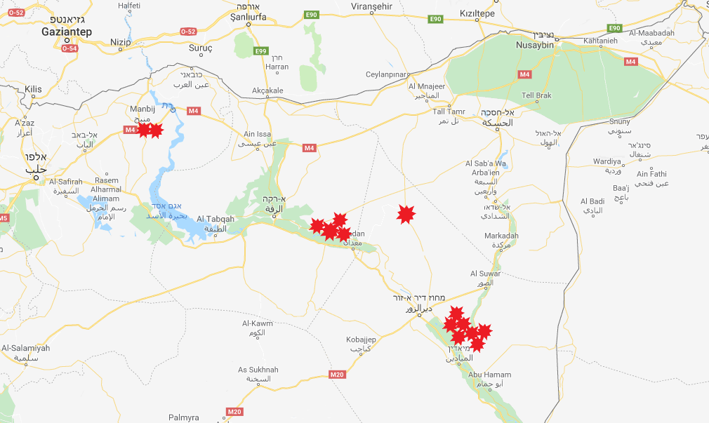 Regions where ISIS carried out retaliation attacks in the Euphrates Valley, the area of al-Mayadeen, al-Raqqa and Manbij (Google Maps)