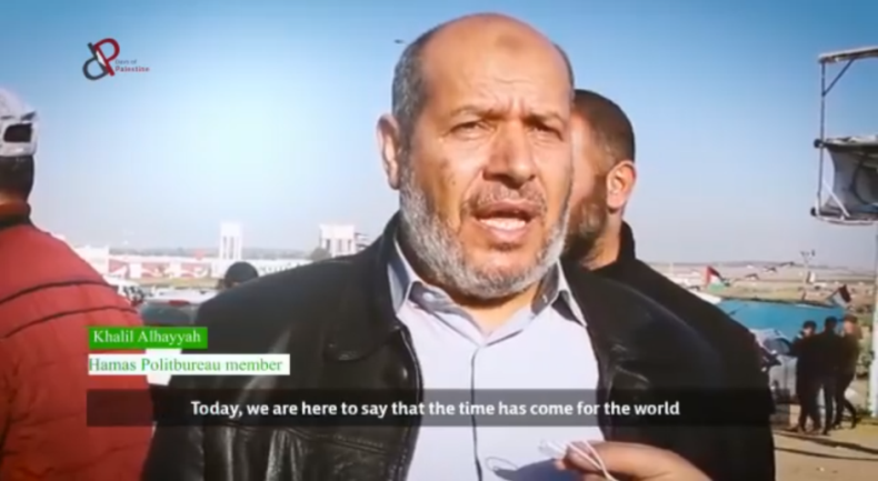 Senior Hamas figure Khalil al-Haya, interviewed during return march activities (Supreme National Authority Facebook page, April 12, 2019).