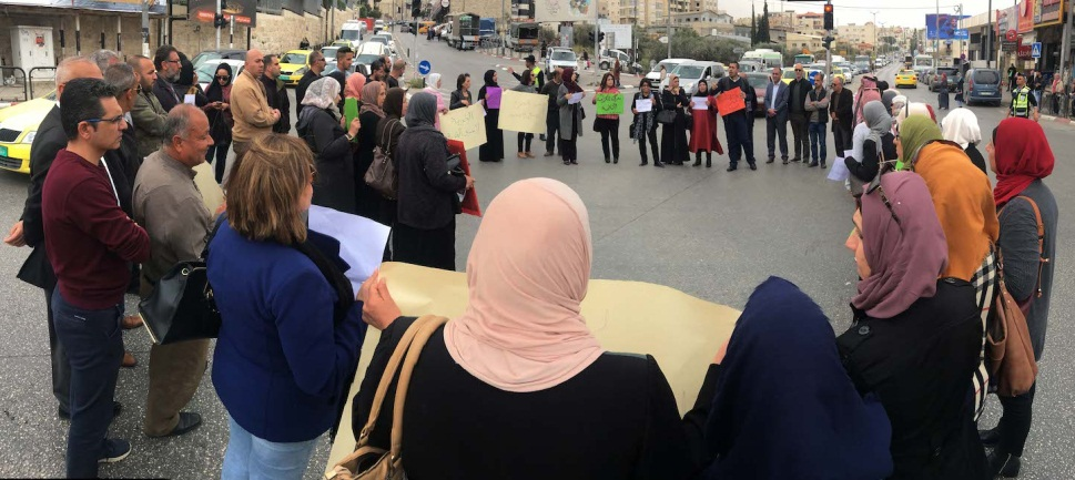 Demonstration in Bethlehem in support of the hunger-striking Palestinian prisoners (Wafa, April 15, 2019).