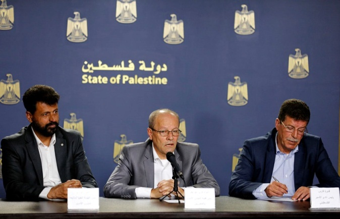 Qadri Abu Bakr, chairman of the authority for prisoners and released prisoners, holds a press conference in Ramallah to declare the events of Palestinian Prisoners' Day (beginning April 17, 2019) (Wafa, April 14, 2019).