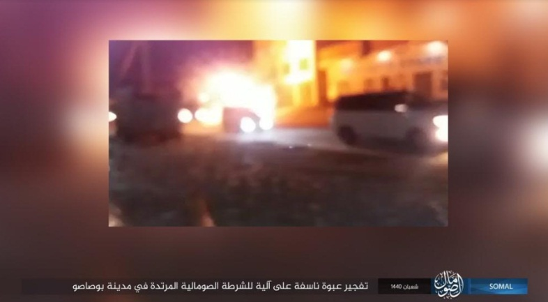 The explosion of an IED by ISIS against a Somali police vehicle in the city of Bosaso (ISIS's Somalia Province via Telegram, April 15, 2019).