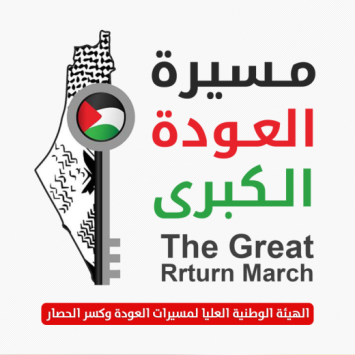 Current profile photo of the official Facebook page of the Supreme National Authority of the Return Marches and Lifting the Siege (Official Facebook page of the National Authority, April 2, 2019). The message of the return of the Palestinian refugees to Israel is clearly conveyed in the logo.