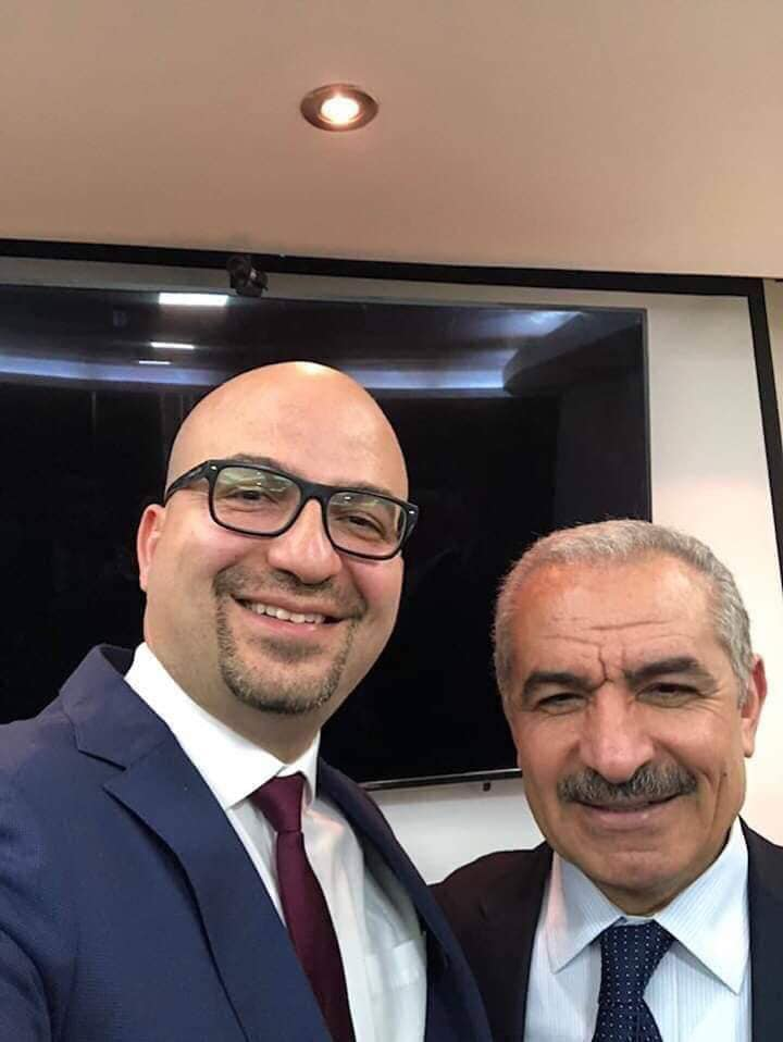 Fadi al-Hidmi (left) and Muhammad Shtayyeh  (Facebook page of Tamer Abu Tujan, who represents himself as al-Hidmi's cousin, April 13, 2019)