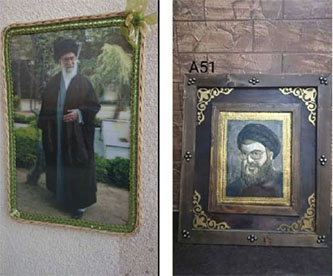 Right: Portrait of Hezbollah leader Hassan Nasrallah (Facebook page of the Ataa al-Jirah exhibition, July 16, 2015). Left: Picture frame of Iranian leader Ali Khamenei (Facebook page of the Ataa al-Jirah exhibition, May 19, 2015)
