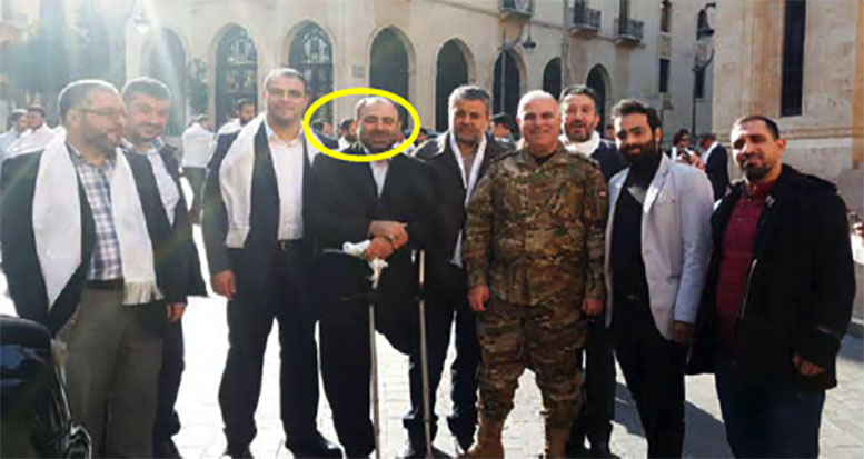 Hajj Imad Kheshman, who is in charge of information and public relations in the Foundation for the Wounded (in the circle). A Lebanese army officer is seen beside him (website of the Foundation for the Wounded, December 15, 2017)