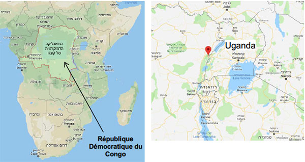 Right: The Congo army base that was attacked. Left: The Democratic Republic of the Congo (Google Maps)