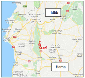 The towns and villages taken over by the Syrian army in the southwestern Idlib area, northwest of Hama, during the first days of the attack (SANA, May 11, 2019): Kafr Nabudah (1); Al-Janabra (2); Al-Bana (3); Tell Uthman (4); Qalaat al-Madiq (5); Bab al-Taqa (6); Karkat (7) (Google Maps)