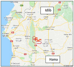 Towns, villages and areas which the Syrian army announced that it had taken over on May 13, 2019. One of the villages (Sheikh Idris) was retaken by the rebel organizations. The area marked in red was taken over by the Syrian army in the initial days of the attack (Google Maps)
