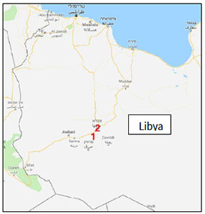 The towns of Ghadwa (1) and Sabha (2) where ISIS operated in southern Libya (Google Maps)