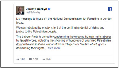 Jeremy Corbyn uses his Facebook page to encourage Nakba Day participants (Times of Israel, May 11, 2019) (ITIC emphasis).