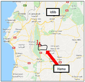 Sites taken over on May 14 and 15, 2019: Al-Hweiz (1); Shree'ah airstrip (2); Al-Hamra (3). The area delineated in red was taken over by the Syrian army in the first week of the attack. Subsequently, the Syrian army had to withdraw from some of the sites that it had taken over (Google Maps)