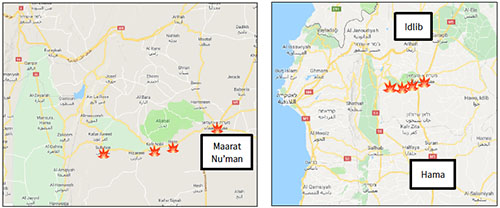 Towns and villages on the road leading to Maarat Nu'man, where the Russian airstrikes were focused (Google Maps)