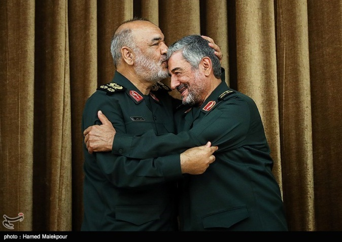 The incoming IRGC commander Salami and the outgoing commander Jafari (Tasnim, April 24, 2019)