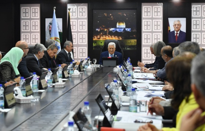 Mahmoud Abbas at the PA government meeting in Ramallah (Wafa, April 29, 2019).