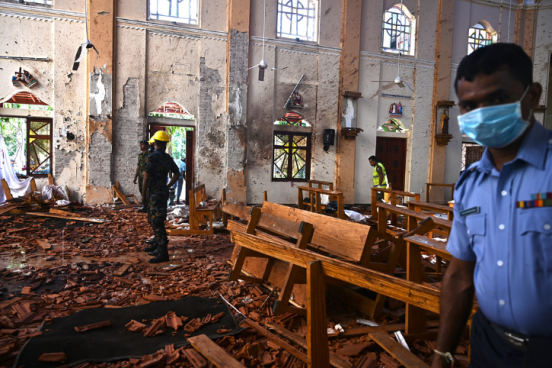 The scene of the explosion in St. Sebastian's (picture website Flicker Hive Mind).