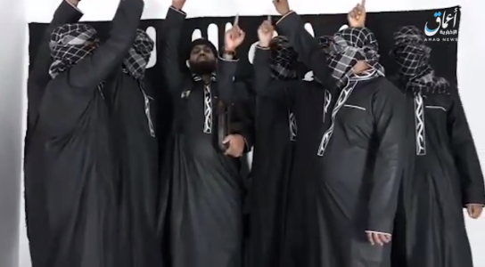 Scenes from the video showing Abu Ubaida (center) conducting the ceremony of swearing loyalty to ISIS (Akhbar al-Muslimin, April 23, 2019).