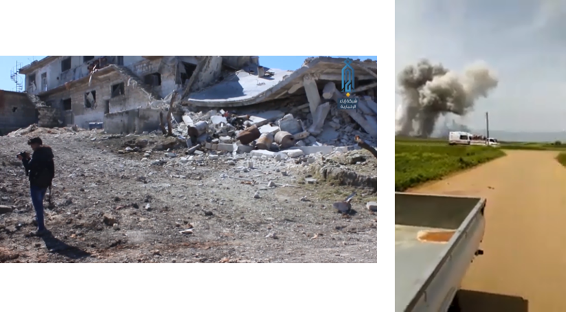 Right: Smoke rising in the wake of one of the Russian airstrikes in the south of the rebel enclave in Idlib (YouTube, April 26, 2019). Left: Destruction caused by the Russian airstrike against the village of Tell Al-Zaman, west of Idlib (Ibaa, April 23, 2019)