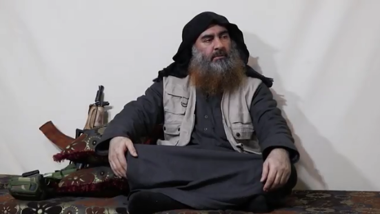 Abu Bakr al-Baghdadi in the video (Akhbar al-Muslimeen, April 29, 2019)