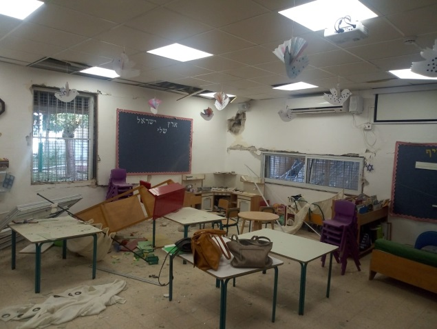 A kindergarten damaged by rocket shrapnel in the early morning of May 5, 2019 (Sderot municipality, May 5, 2019).