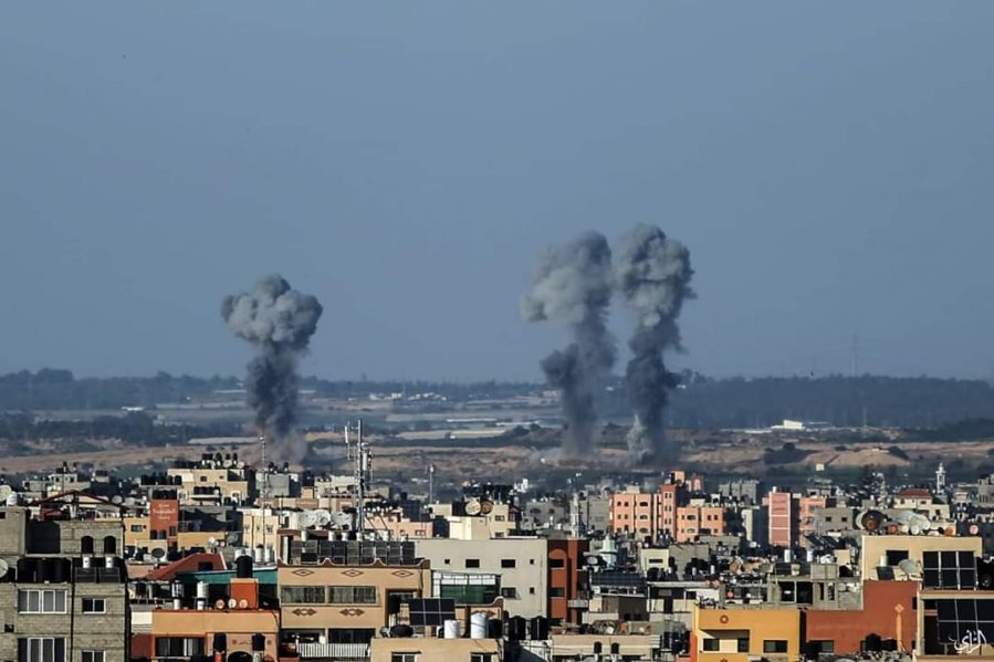IDF attacks on terrorist targets in the central Gaza Strip (Palinfo Twitter account, May 4, 2019).
