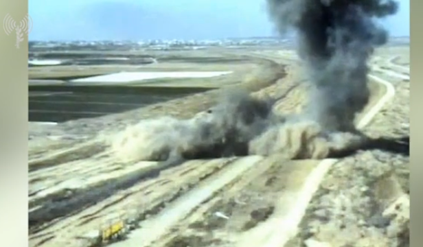 Picture from a video documenting the destruction of a PIJ terrorist tunnel in the southern Gaza Strip (IDF spokesman's website, May 4, 2019).
