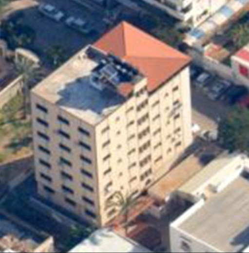 The building used by Hamas for the offices of its general security and military intelligence, before the attack (IDF spokesman, May 4, 2019).