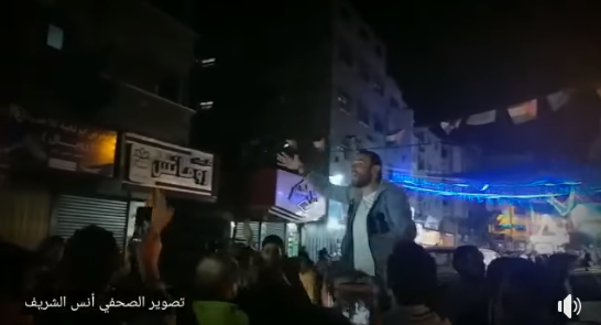 Night march in the Gaza Strip to celebrate the launching of rockets at Israel (Shehab Facebook page, May 5, 2019).