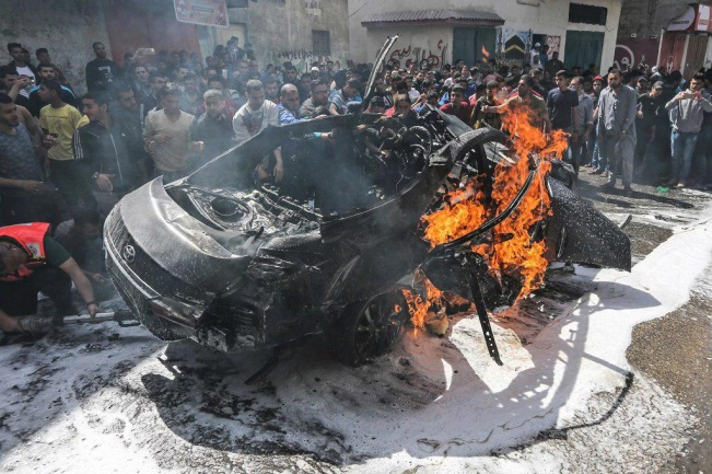 Al-Khoudary's vehicle after the IDF attack (Palinfo Twitter account, May 5, 2019).