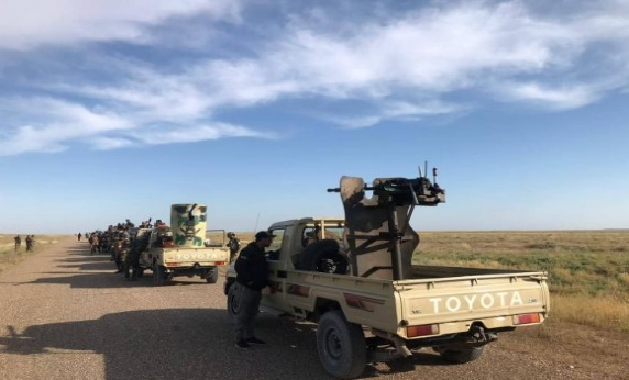 Motorized Popular Mobilization forces taking part in the military operation against ISIS operatives in the Salah al-Din Desert (al-hashed.net, May 5, 2019)