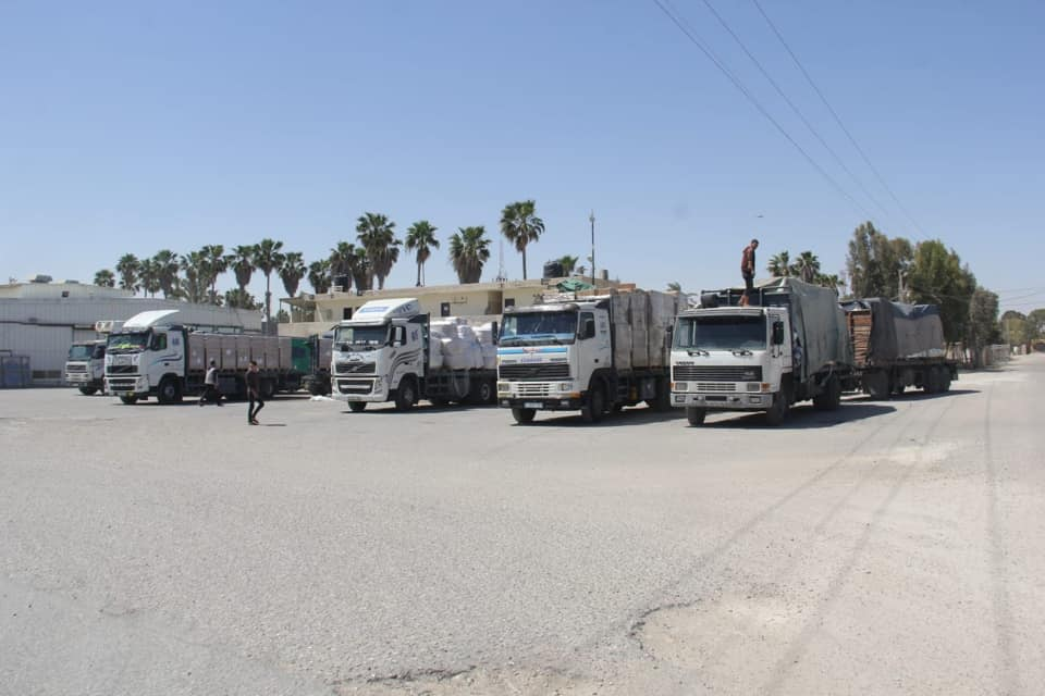 The Palestinian side of the Kerem Shalom Crossing with the renewal of its activities (Shehab Facebook page, May 12, 2019).