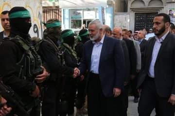 Isma'il Haniyeh pays a round of condolence calls to the families of Palestinians killed in the Gaza Strip (Palinfo Twitter account, May 7, 2019).