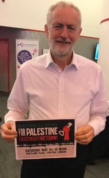 "Jeremy Corbyn, head of the Labour Party, shows his support for the demonstration. At the right of the sign held by Corbyn is a key, which is the symbol of the so-called ""right of return"" of the Palestinians (which means the destruction of the State of Israel) (Palestinian Forum in Britain Facebook page, May 11, 2019)."