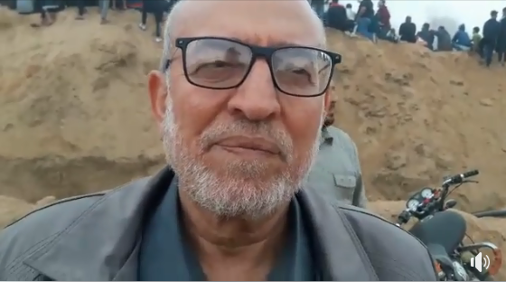 Ahmed al-Kurd being interviewed during one of the return marches (Facebook page of Ahmed al-Kurd, April 20, 2018).