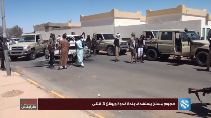 Local militiamen carrying out a search in Ghadwa after the withdrawal of ISIS operatives.