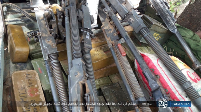 Weapons and equipment seized by the attackers (Shabakat Shumukh, May 12, 2019)