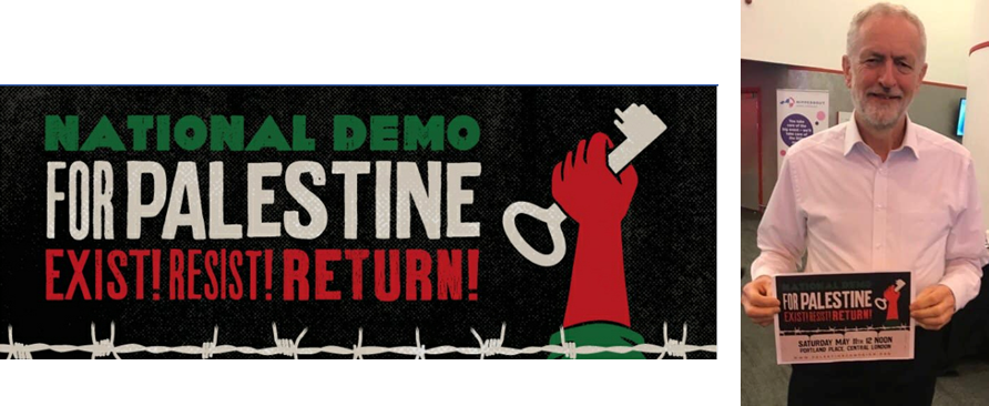 "Right: The British Labour Party leader holds a sign used in the Nakba Day events. It shows a key, the symbol of the so-called ""right of return"" of the Palestinians (Palestinian Forum in Britain Facebook page, May 11, 2019). Left: Sign used by the participants in the Nakba Day events (Palestine Solidarity Campaign, May 2019)."