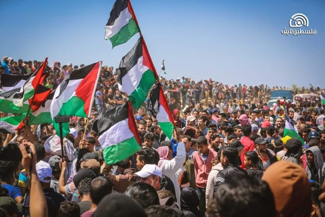 Palestinian demonstrators in eastern Khan Yunis (Supreme National Authority of the Great Return March Facebook page, May 15, 2019).