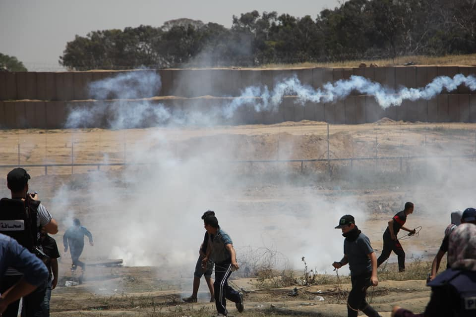Palestinian rioters (including adolescents) throw stones near the security fence (Supreme National Authority Facebook page, May 15, 2019).